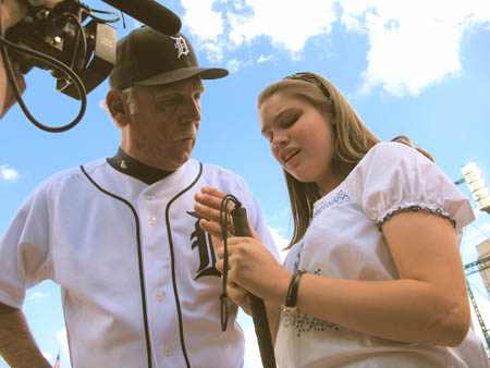 Shelby Craig with Tigers' manager Jim Leyland